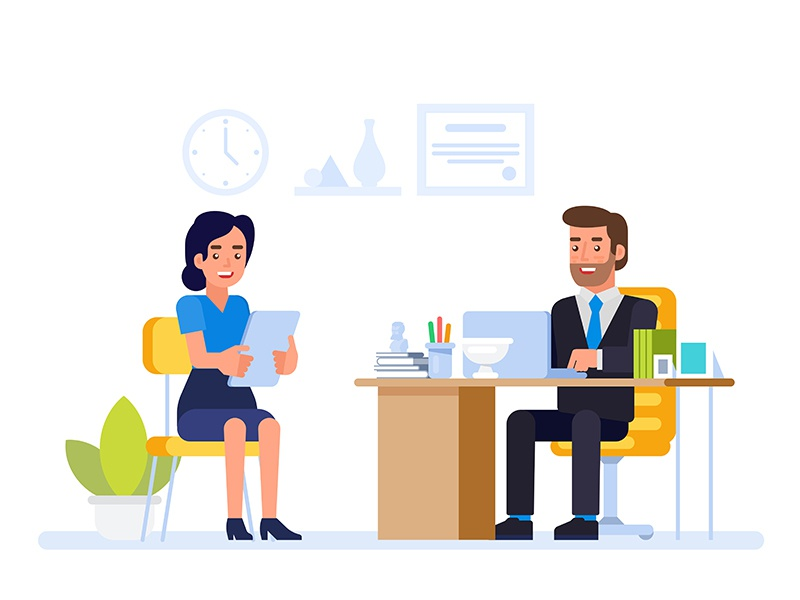 HR manager meeting job applicant in director office. by Ico on Dribbble